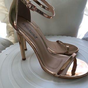 Gold Metallic strap heels